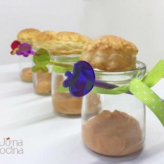 Vasitos de crema de salmón para cena cumple| junaenlacocina.com