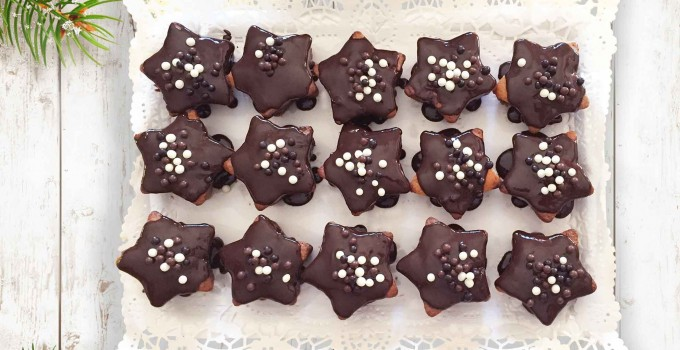Estrellas bizcocho con chocolate