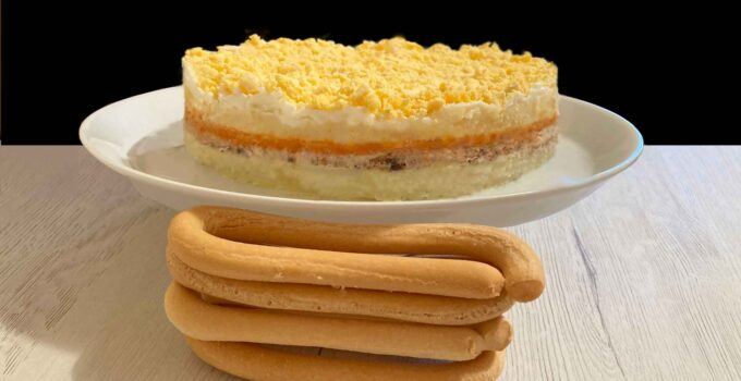 Tarta mimosa y rosquillas